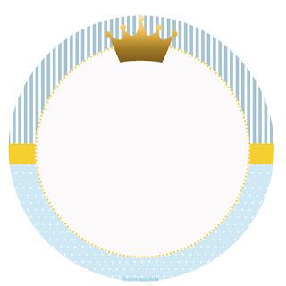 Toppers o Etiquetas para Imprimir Gratis de Corona en Fondo Celeste.