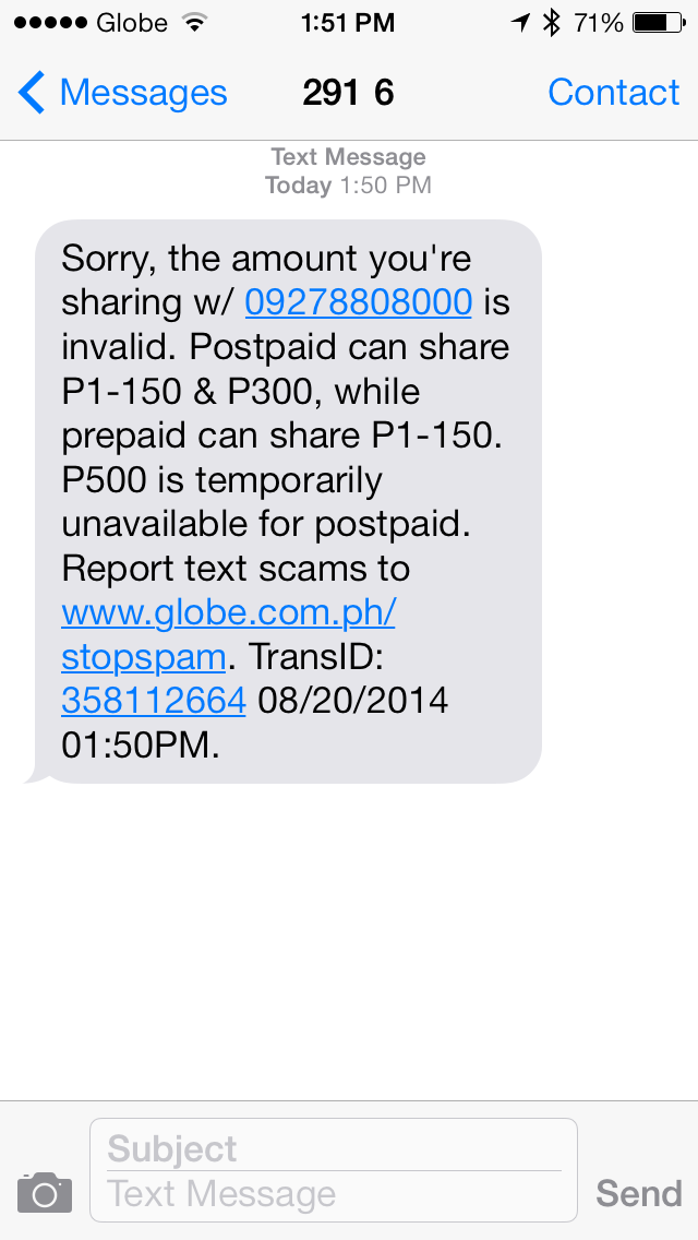 share-a-load text scam