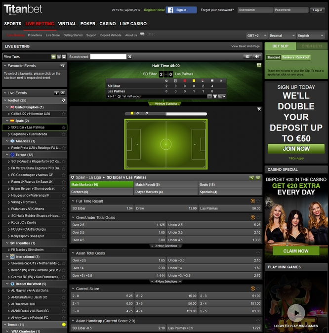 Titanbet Live Betting Screen