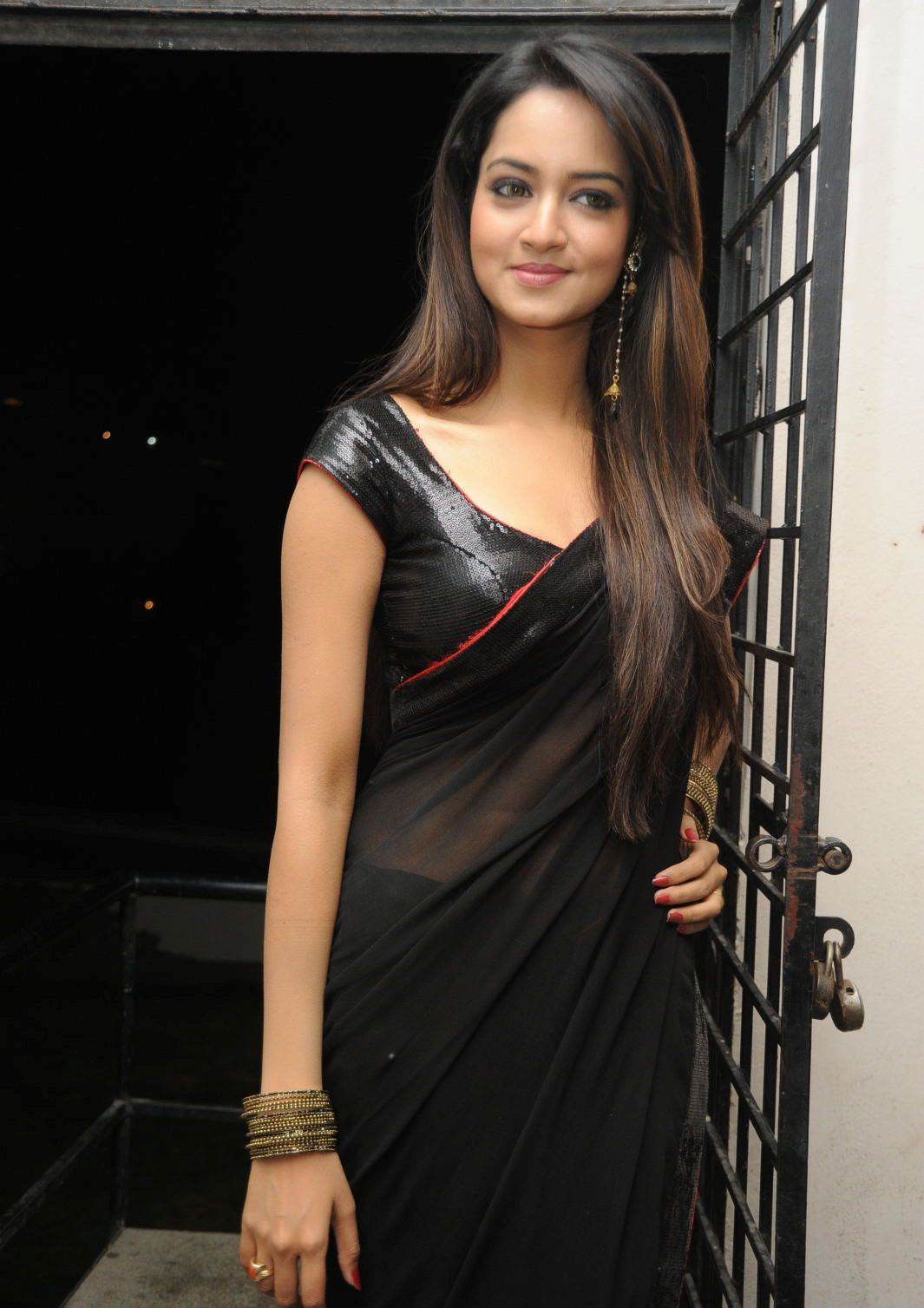 Actress Shanvi Black Saree Photos Actress Saree Photos