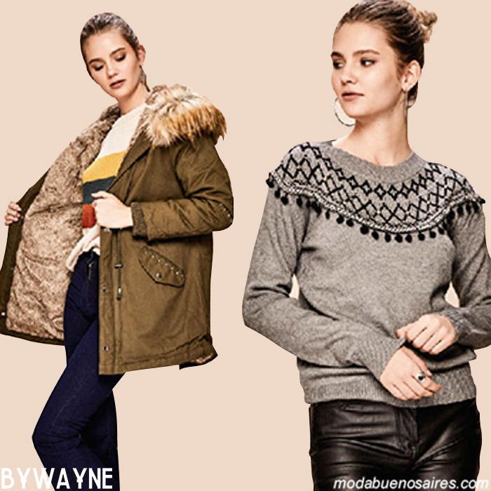 Parkas y sweaters otoño invierno 2019 moda mujer.