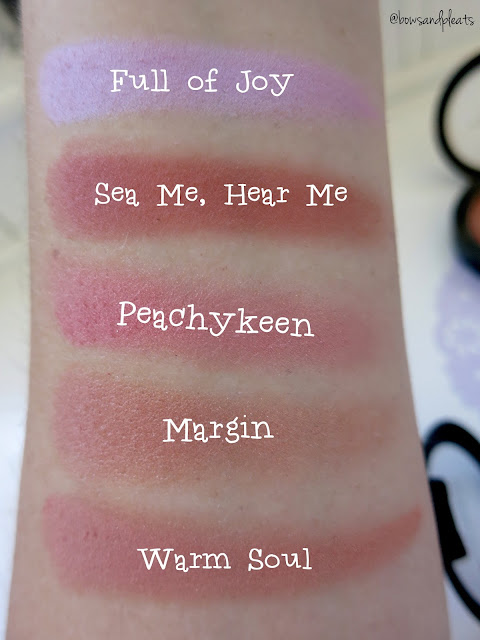 Mac Cosmetics Full of Joy, Sea Me Hear Me, Peachykeen, Margin, Warm Soul Blush