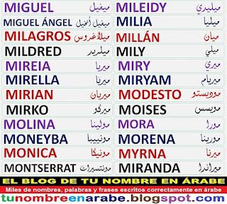 Nombres en letras arabes: MIRYAM, MODESTO, MOISES, MOLINA