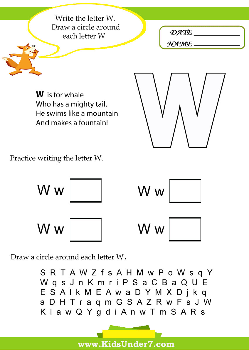 Kids Under 7: Letter W Worksheets