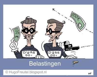cartoon belasting loket met Dijsselbloem schenkt geld en schiiet geld kapot