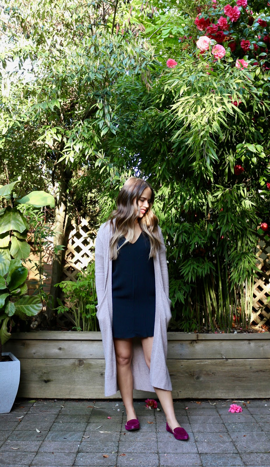 Jules in Flats - Black Shift Dress with Duster Cardigan (Business Casual Spring Workwear on a Budget)