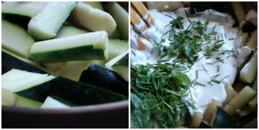 Basmati rice with zucchini by Laka kuharica: Add cream, chives, basil, lemon juice, salt and pepper