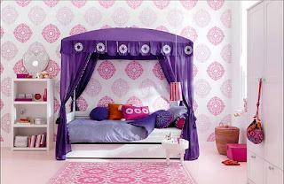 habitación lila rosa