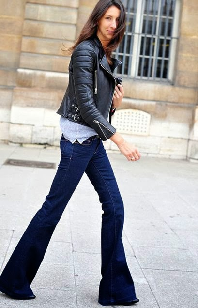 Women's Fashion Flare jeans + leather jacket