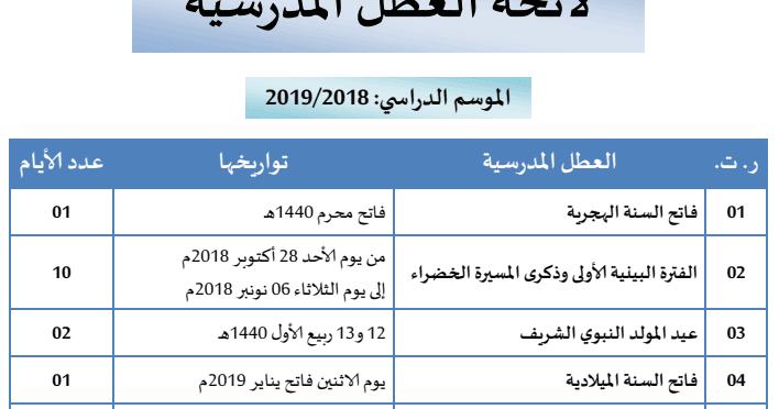 لائحة العطل المدرسية 2019/2018
