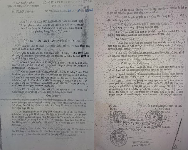 """Phó Chủ tịch UBND TP.HCM Nguyễn Văn Đua đã ký Quyết định 3243/QĐ-UB về """"Tạm giao đất cho Công ty 7/5"""