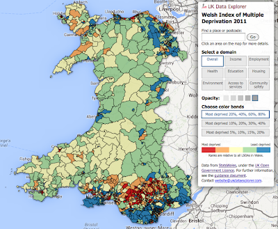 A map of the Welsh Index of Multiple Deprivation