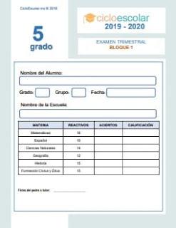 Examen Trimestral Quinto grado 2019-2020