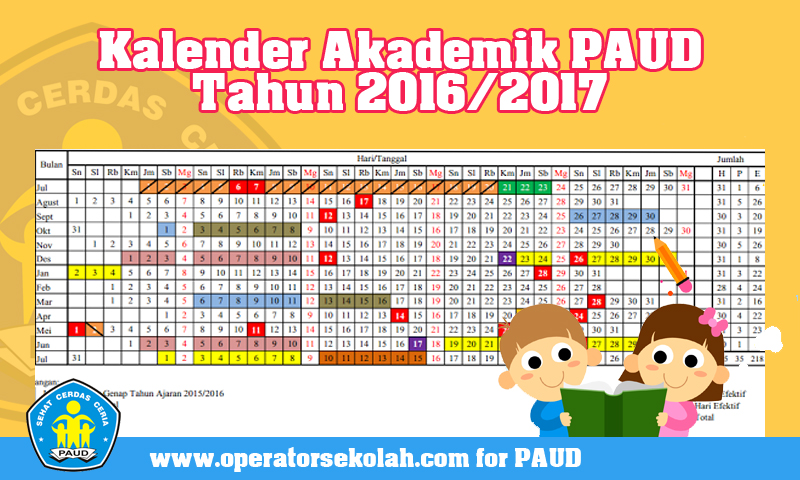 Download File Contoh Kalender Akademik PAUD Tahun 2016/2017 Format Excel.