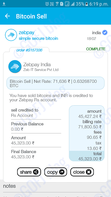 Selling bitcoins on Zebpay