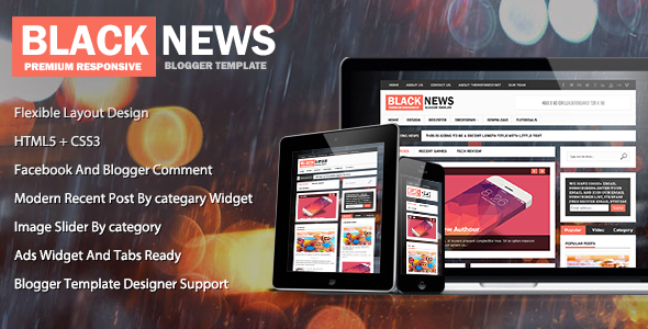Download Free Black News Blogger Template
