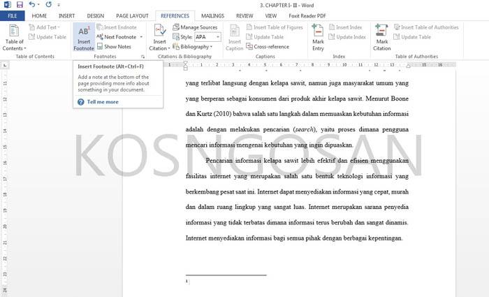 Contoh Pembuatan Footnote Skripsi Dan Jurnal Yang Baik Dan Benar