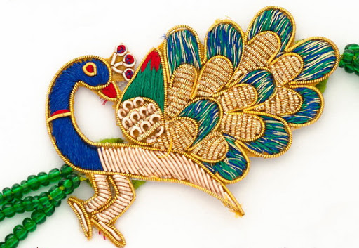 Peacock Rakhi with Kundans, Zardozi and Beads