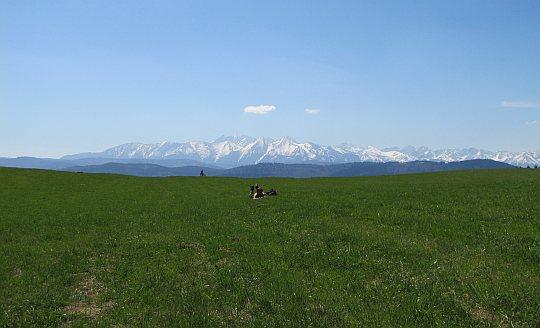 Pastwisko Wapienne z widokiem na Tatry i Zamagurze Spiskie (słow. Zamagurie)