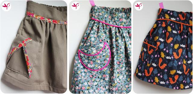 Trio de poches pour jupe Poulette