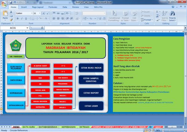 Aplikasi Raport MI Versi Kemenag Format Microsoft Excel