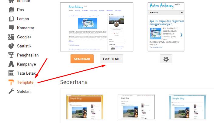 Klik template kemudian edit HTML