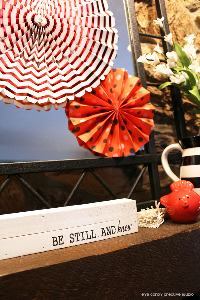 valentines decorations, be still and know, wood signs, black and white decor