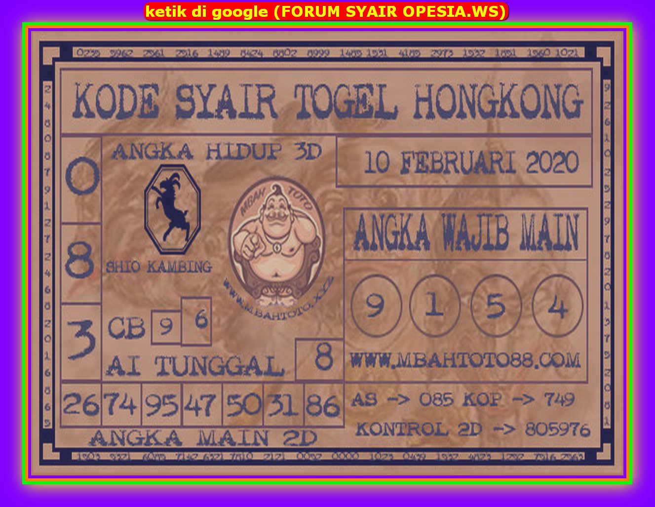 Kode syair Hongkong Senin 10 Februari 2020 181