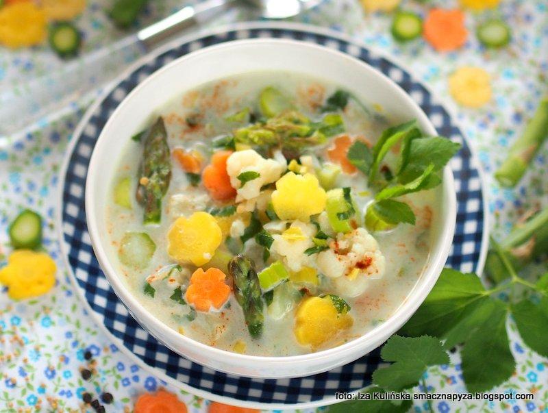 zupa warzywna, zupy domowe, domowe jedzenie, warzywa, podagrycznik, szparagi, kolorowa zupa, zupa z samych warzyw
