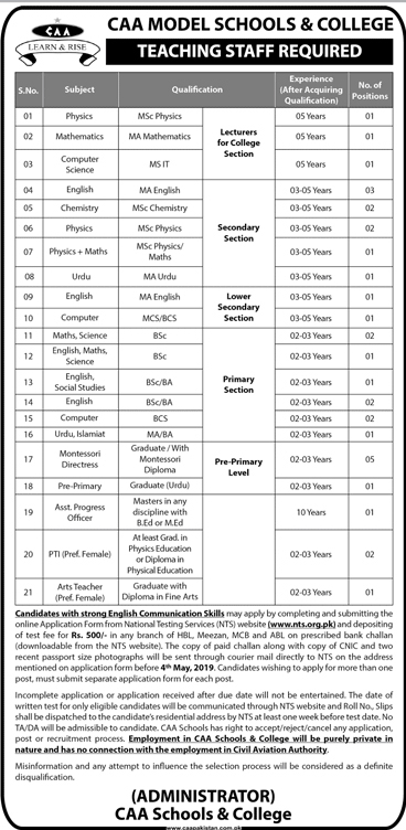 NTS CAA Model Schools & College Jobs for Teaching Staff