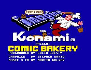 Imagen con la pantalla del título de Comic Bakery, 1984, Konami