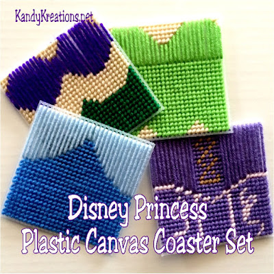 Decorate with your favorite princesses at your next Disney party.  You'll get Ariel, Tinkerbell, Cinderella, and Rapunzel with this four princess coaster set made from Plastic Canvas.