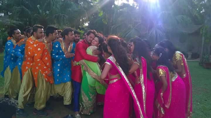 Smriti Sinha ON Set of Sajan Chale Sasural 2 Bhojpuri Film Shooting photo