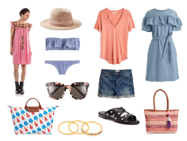summer clothes and accessories