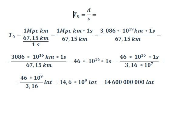 Obliczanie wieku wszechświata wg wyznawców BB