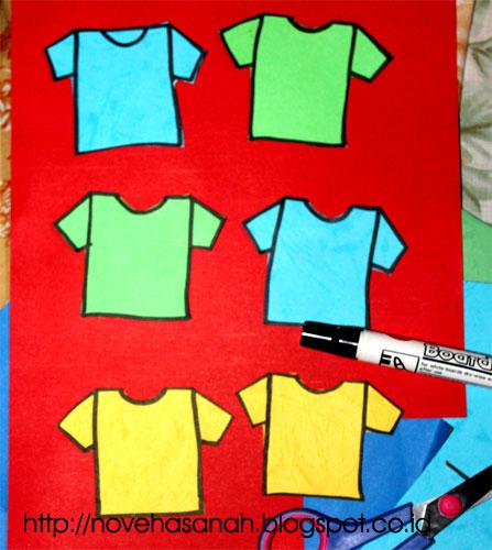 untuk membuat jadwal pelajaran hasil kreasi kertas bekas warna-warni ini tentu saja kita memerlukan 6 buah t-shirt