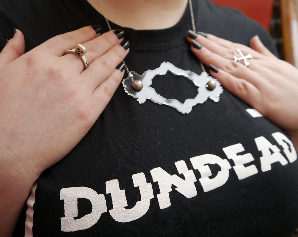 Scottish Blogger, styel blogger, red head, scarf style, skull style, goth style, creepy girl style, Dundead tshirt, Charcot necklace, Dundee designers, Karen Smith key earrings, monochrome outfit, Dundee jewellery designers, Dundee design events, CARVE, jewellery making workshop scotland, wax carving workshop scotland