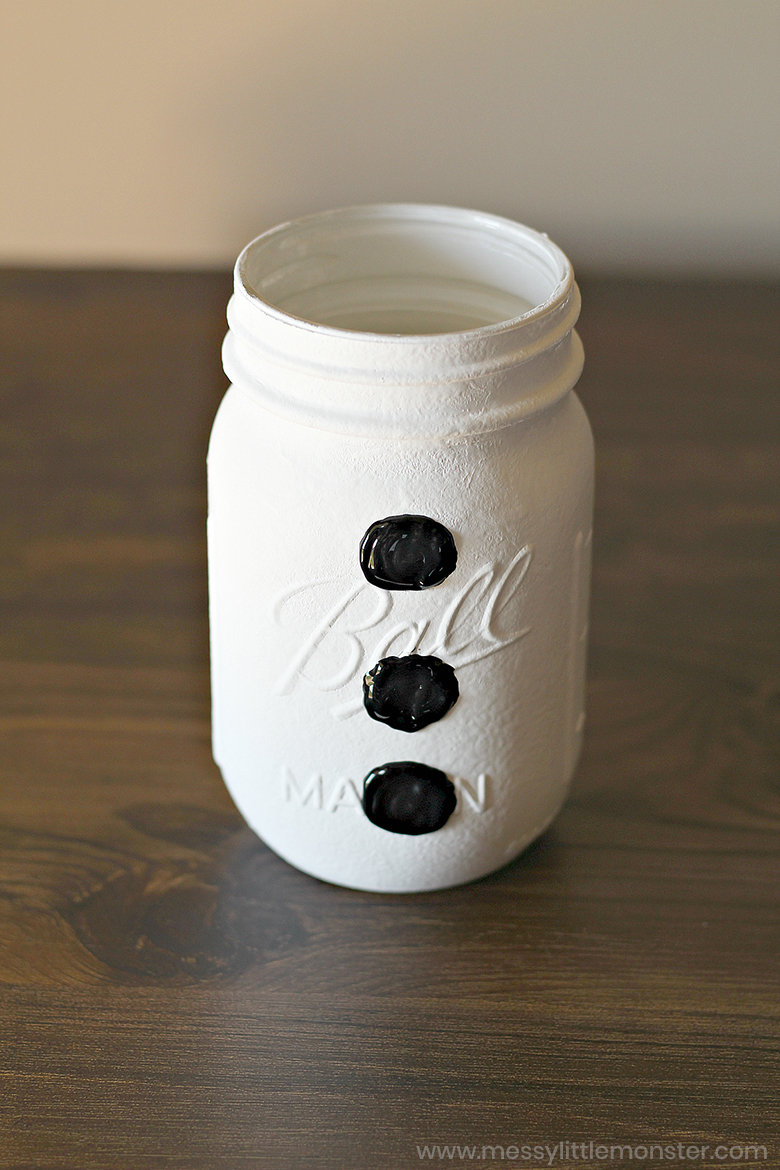 snowman painted mason jars - christmas crafts for kids