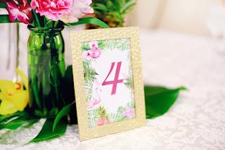 номерки на столы тропическая свадьба