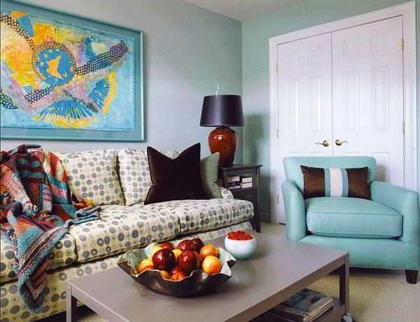 10 contoh warna cat ruang tamu kombinasi hijau  biru