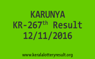 KARUNYA KR 267 Lottery Results 21-11-2016