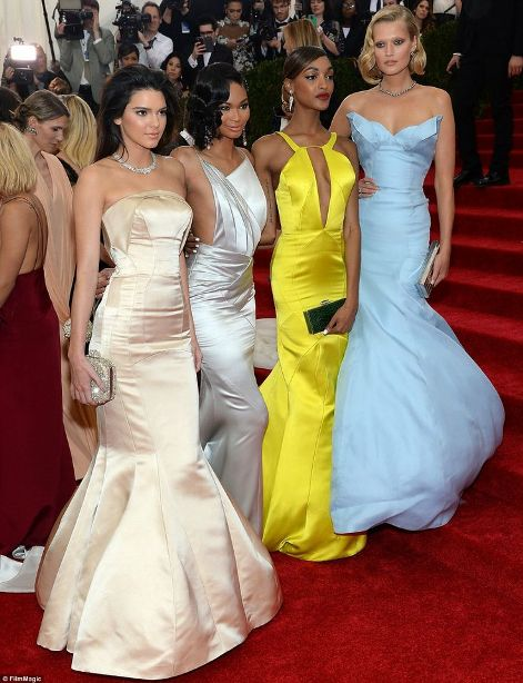 colorful models: Kendall Jenner, Chanel Iman, Jourdan Dunn and Toni Garrn at the Met Gala 2014
