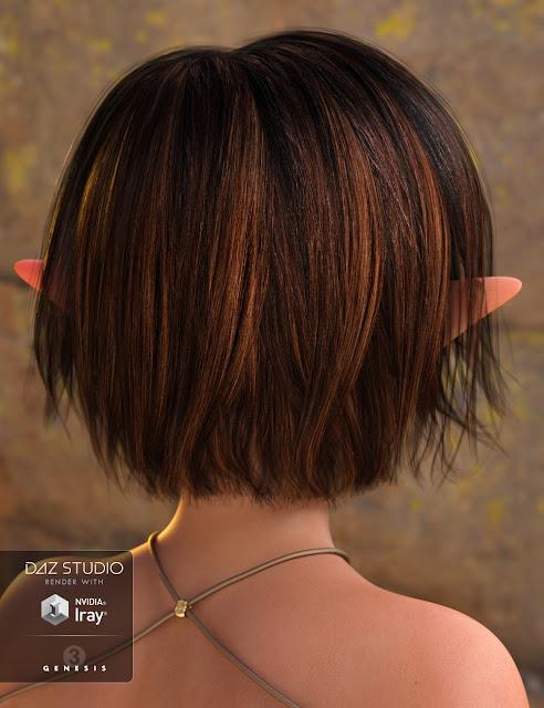 Choppy Bob Hair for Genesis 3 Female