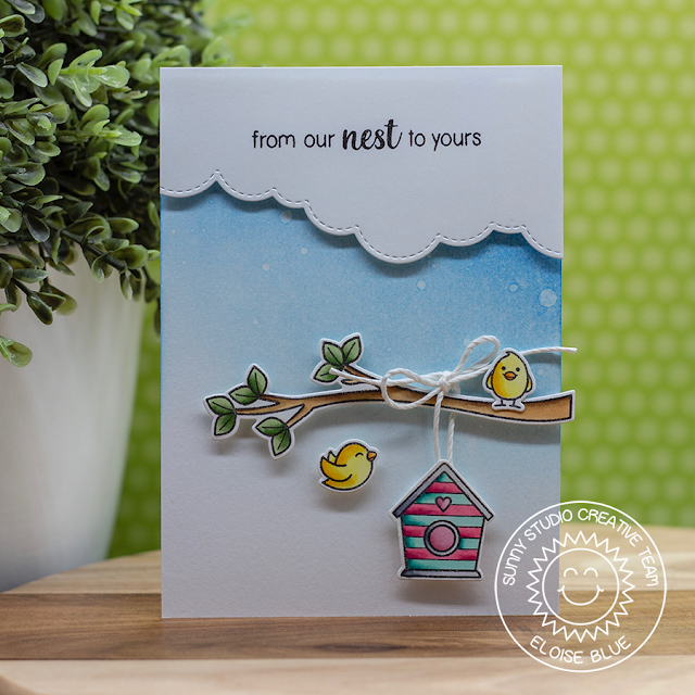 Sunny Studio Stamps: A Bird's Life Stitched Scallop Dies Everyday Card by Eloise Blue