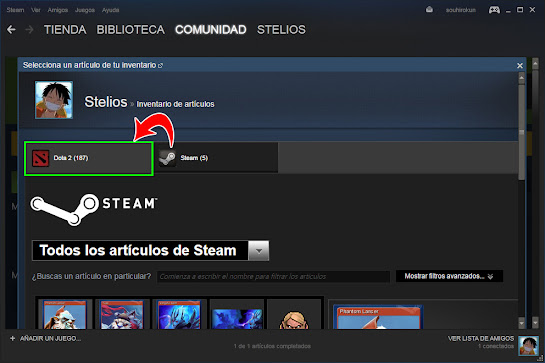 Como vender tus items en DOTA 2