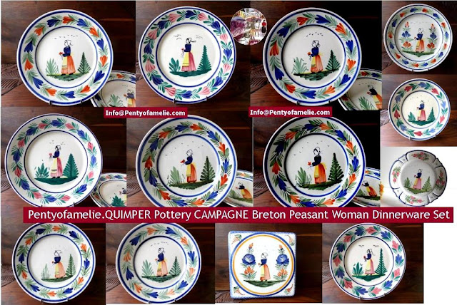 French Quimper Pottery depicting Breton Peasant Woman plates, Campagne, mistral blue pattern, nice wall decor plates from pentyofamelie.