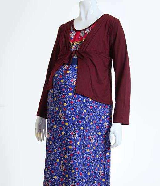 Contoh Model Busana Muslim Batik Gamis Untuk Ibu hamil