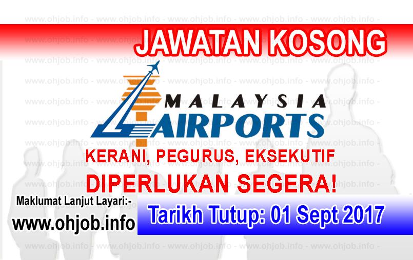 Jawatan Kerja Kosong Malaysia Airports - MAHB logo www.ohjob.info september 2017