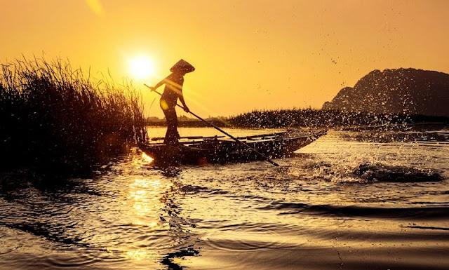 Golden Sunset on the Van Long Lagoon 2