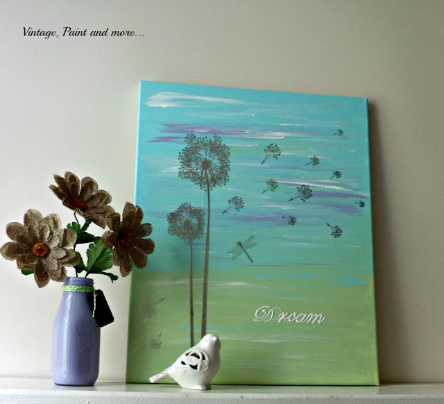 Vintage, Paint and more... Painted wall art canvas with wall creations and stenciling